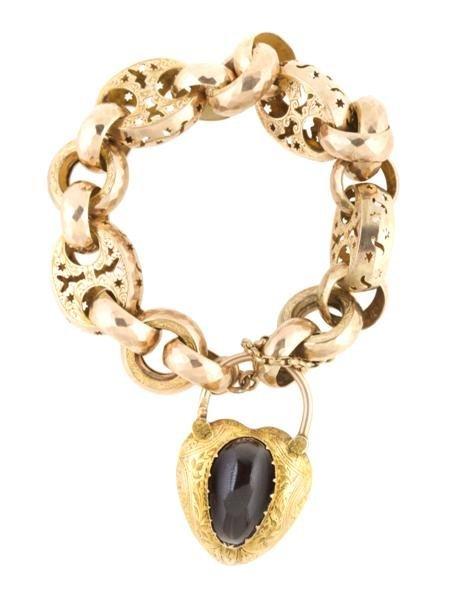A Victorian Yellow Gold and Garnet Bracelet, 23.28 dwts