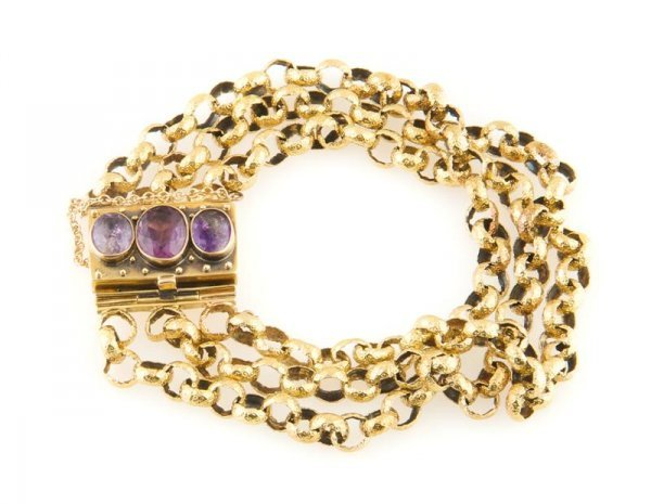 A Yellow Gold and Amethyst Bracelet, 12.82 dwts.