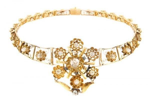 A 14 Karat Yellow Gold and Diamond Necklace, 27.91 dwts
