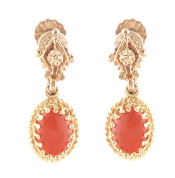 A Pair of Yellow Gold and Coral Drop Earrings. 2.10 dwt