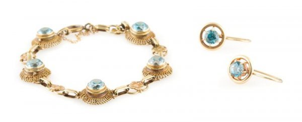 A Group of Yellow Gold Jewelry, 8.20 dwts.