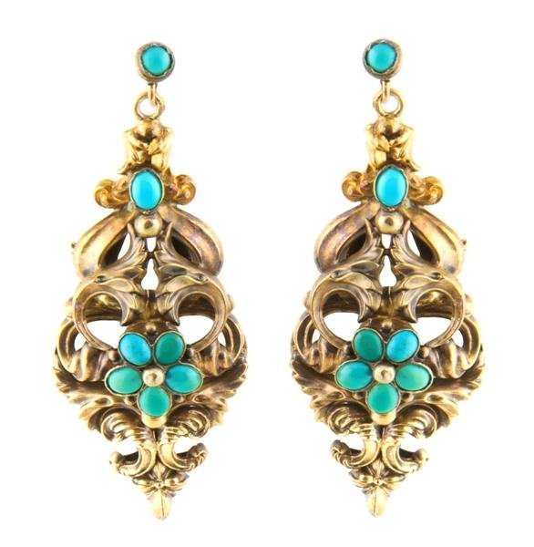 A Pair of Yellow Gold and Turquoise Earrings, 8.23 dwts