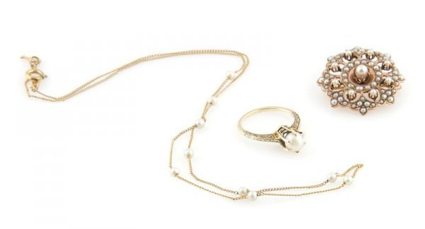 A Group of 14 Karat Yellow Gold and Cultured Pearl Jewe