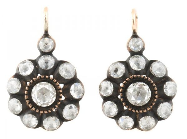 A Pair of Rose Gold and Diamond Earrings, 6.07 dwts.