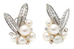 A Pair of Platinum Diamond and Cultured Pearl Earrings