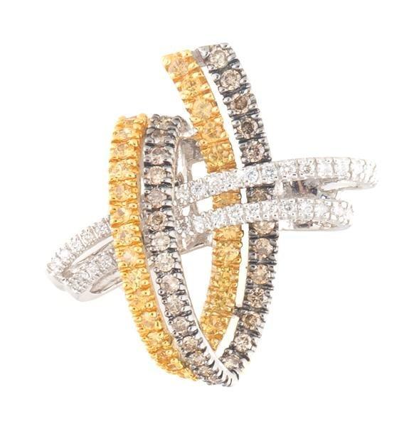 A 14 Karat White Gold, Brown Diamond, White Diamond and