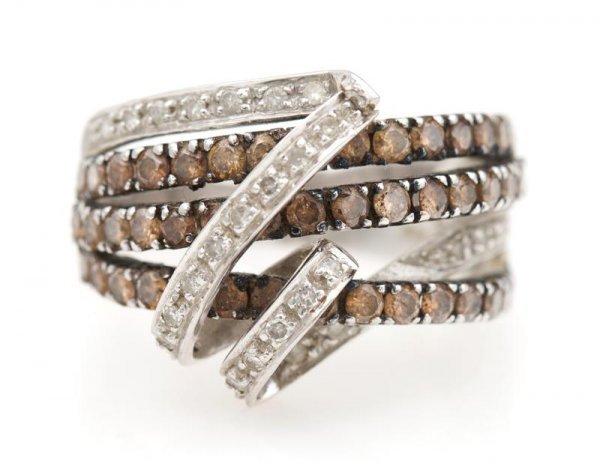 A 14 Karat White Gold, Brown Diamond and White Diamond