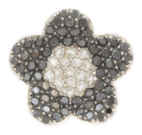 An 18 Karat White Gold, White Diamond and Black Diamond