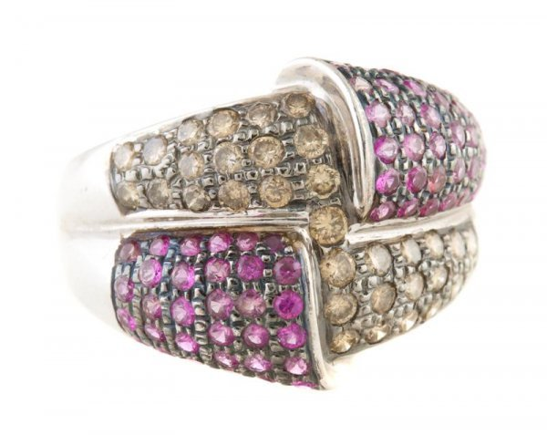 A 14 Karat White Gold, Pink Sapphire and Brown Diamond