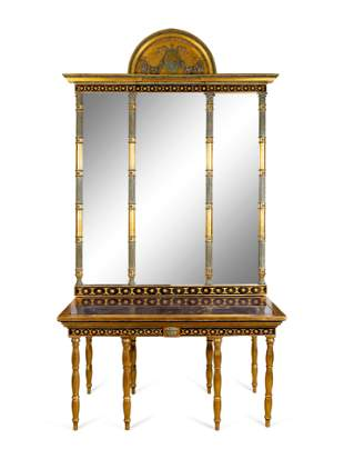 A Swedish Neoclassical Parcel-Gilt, Eglomise and