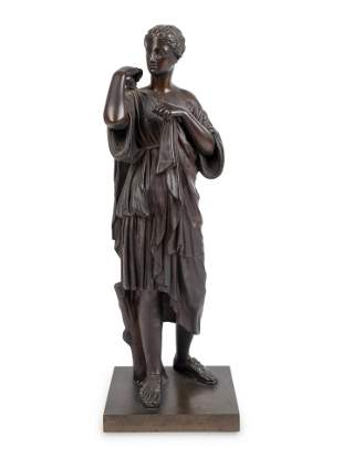 A Patinated Bronze Figure of Diana of Gabii Height 17