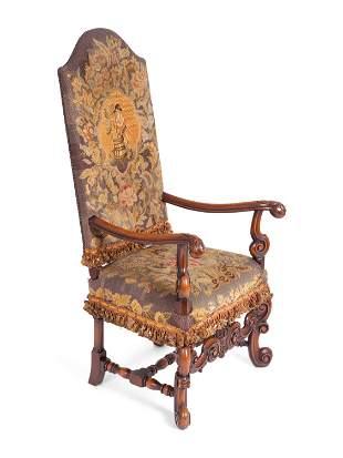 A Louis XIV Style Needlepoint-Upholstered Walnut