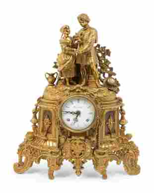 A Louis Philippe Gilt-Metal Figural Mantel Clock Height