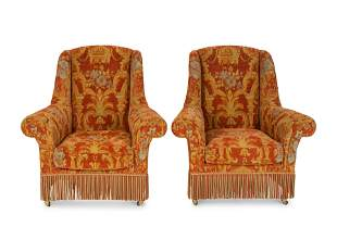 A Pair of Victorian Style Upholstered Wing Armchairs