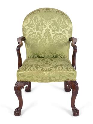A Chippendale Style Carved Mahogany Armchair Height 35