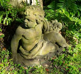 A Pair of Cast Stone Seated Putti Height 21 1/2 x width