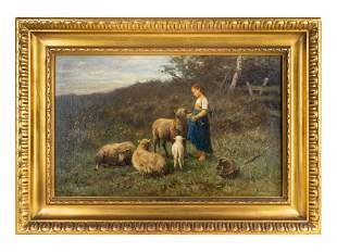 Anton Mauve (Dutch, 1838-1888) Young Girl with Sheep