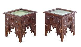 A Pair of Syrian Carved and Inlaid Walnut Low Vitrine