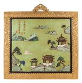 A Pair of Chinese Export Gilt Bronze-Framed Hardstone