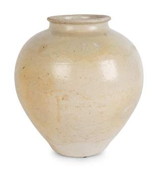 A Chinese White-Glazed Ceramic Ovoid Jar Height 11 x