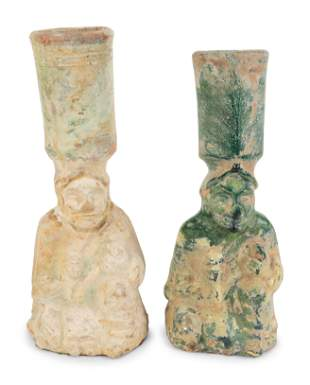 Two Chinese Glazed Terracotta Figural Lampstands Height