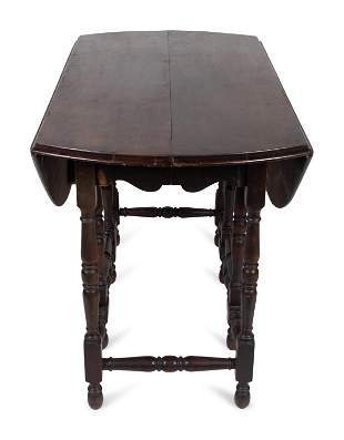 A William & Mary Style Mahogany Gateleg Table Height 30