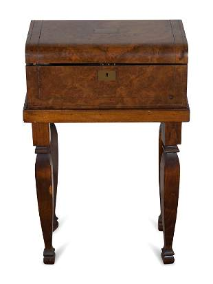 A Victorian Style Burl Walnut Lap Desk on Stand and a