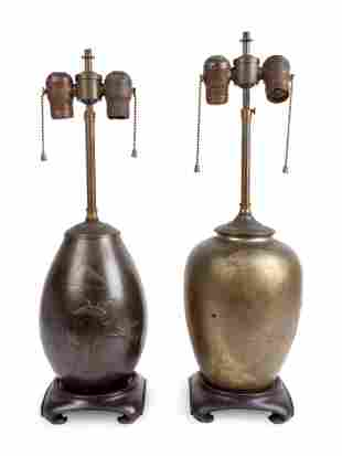 Two Japanese Patinated Bronze Vases Mounted as Lamps