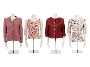 Four Chanel Tops: One Leather Jacket, One Printed