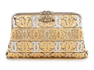 Chanel Die-Cut CC Metallic Leather Frame Clutch Bag,
