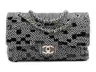 Chanel Striped Denim Double Flap Bag, 2006-2008