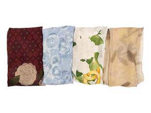 Four Chanel Silk Scarves