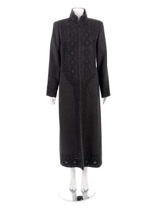 Oscar de la Renta Embroidered Cashmere Top Coat