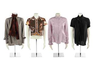 Four Designer Silk Tops: Two Etro, One Giorgio Armani,