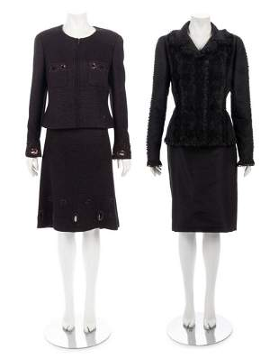 Two Two-Piece Skirt Suit Ensembles: One Chanel, One