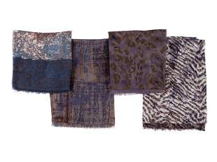 Four Loro Piana Sheer Cashmere/Silk Blend Scarves