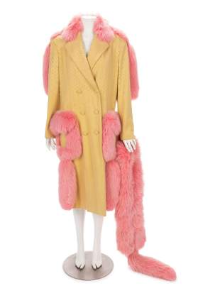 John Galliano Yellow Wool Coat Trimmed with Pink Fox