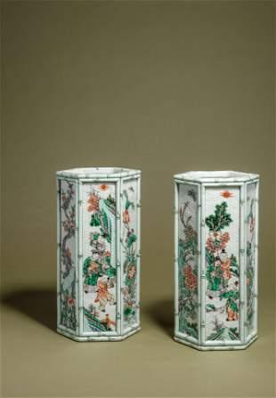 A Pair of Famille Verte Porcelain Hexagonal Hat Stands