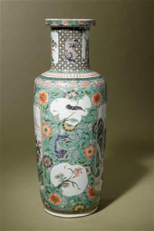 A Famille Verte Porcelain Rouleau Vase