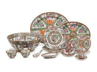 A Large Collection of 128 Export Rose Medallion