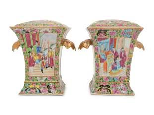 A Pair of Export Rose Medallion Porcelain Cache Pots,