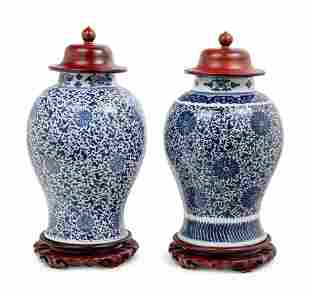Two Blue and White Porcelain Baluster Jars