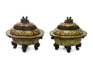 A Pair of Large Cloisonné Enamel Incense Burners