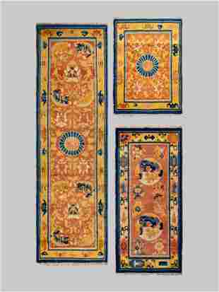 A Ningshia Wool Temple Runner and Two Ningshia Mats