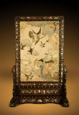 A Embroidered Silk Panel Inset Mother-of-Pearl Inlaid