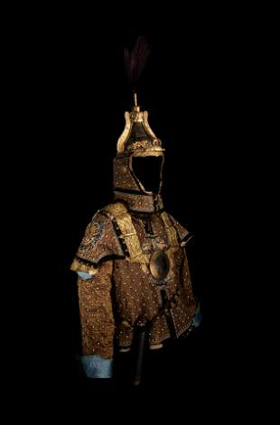An Imperial Gilt Bronze and Iron Helmet and Partial Set