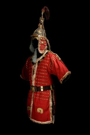 An Imperial Gilt Bronze and Iron Helmet and A Red Robe