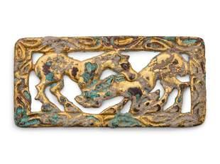 A Gilt Bronze Reticulated Belt Plaque