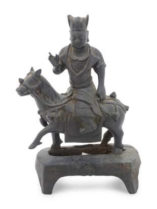 A Bronze Figure of a Horse-Mounted Warrior