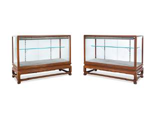 A Pair of Hardwood Displaying Cabinets